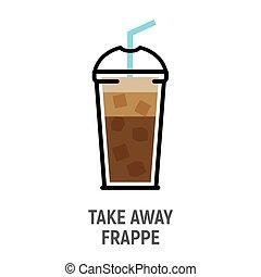 平ら, コーヒー, 凍らされる, カップ, 飲みなさい, 隔離された, デザイン, frappe, 寒い, icon.
