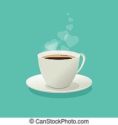 平ら, コーヒー, 愛, 煙, カップ, 色, 隔離された, ∥あるいは∥, 大袈裟な表情をしなさい, デザイン, 背景, 心, 蒸気, 漫画