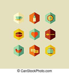 平ら, コーヒー, 概念, デザイン, アイコン