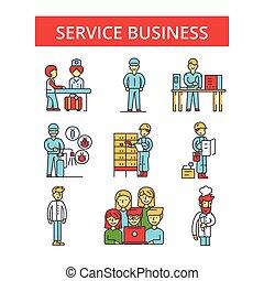 平ら, サービス, ビジネス 実例, セット, アイコン, 薄くなりなさい, editable, ストローク, 線である, ベクトル, シンボル, pictograms, 線, サイン, アウトライン
