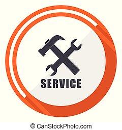 平ら, サービス, 網, ボタン, 隔離された, ラウンド, バックグラウンド。, ベクトル, デザイン, インターネット, オレンジ, 白, icon.