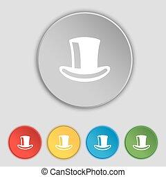 平ら, シリンダー, buttons., シンボル, ベクトル, 5, 帽子, 印。, アイコン