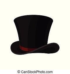 平ら, シリンダー, ribbon., 上, 男性, 付属品, ベクトル, 黒, hat., 流行, マレ, 帽子, broad-brimmed, 赤, アイコン
