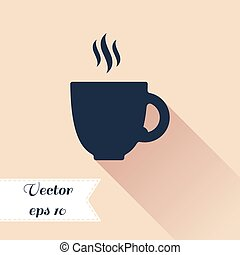 平ら, シルエット, カップ, cofee, デザイン, icon.