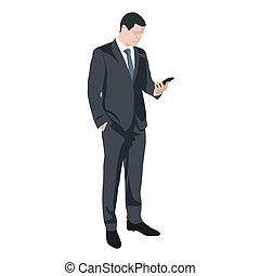 平ら, シルエット, ビジネス, モビール, sms, 執筆, ベクトル, デザイン, 電話, 人