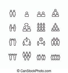 平ら, シルエット, 成功, ビジネス アイコン, set., ベクトル, デザイン, チームチームワーク, 線, concept.