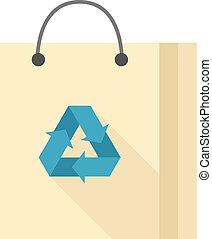 平ら, シンボル, -, 袋, ペーパー, リサイクルしなさい, アイコン