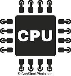 平ら, シンボル。, cpu, マイクロプロセッサ, icon., プロセッサ