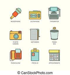 平ら, ジャーナリズム, ベクトル, lineart, iconset, 最小である