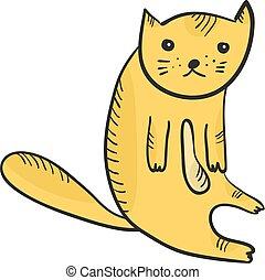 平ら, スケッチ, アウトライン, かわいい, 座っている猫, オレンジ