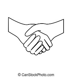 平ら, スケッチ, シルエット, 握手, 合意, アイコン
