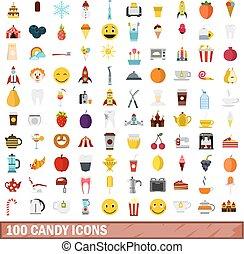 平ら, スタイル, アイコン, セット, キャンデー, 100