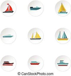 平ら, スタイル, アイコン, セット, 海である, 輸送