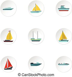 平ら, スタイル, アイコン, セット, 海洋, 輸送