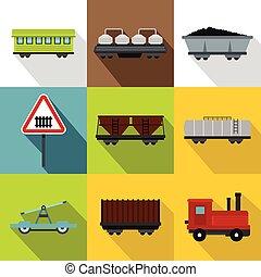 平ら, スタイル, アイコン, セット, 鉄道, 輸送