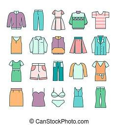平ら, スタイル, アイコン, ベクトル, 線, 衣類, 女性