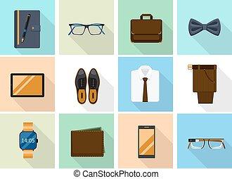 平ら, スタイル, アイコン, 小道具, ビジネスマン, 衣服