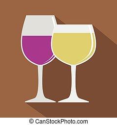 平ら, スタイル, アイコン, 白ワイン, 赤, ガラス