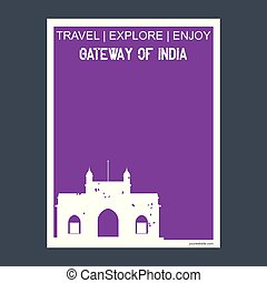平ら, スタイル, インド, 活版印刷, maharashtra, ランドマーク, ベクトル, 記念碑, パンフレット, 出入口
