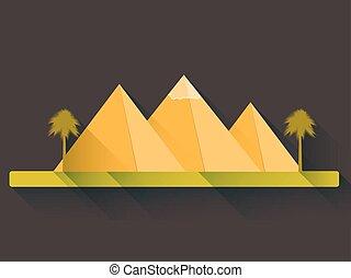 平ら, スタイル, エジプト人, ピラミッド