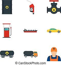 平ら, スタイル, オイル, ガソリン, セット, アイコン