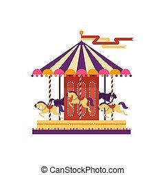 平ら, スタイル, カーニバル, カラフルである, 公園, 隔離された, イラスト, 要素, バックグラウンド。, s, ベクトル, 回転木馬, メリーゴーランド, 馬, 白, 催し物, 子供, 娯楽, funfair