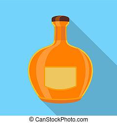 平ら, スタイル, ガラス, アイコン, びん, オレンジ