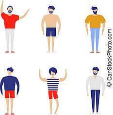 平ら, スタイル, グループ, 人々, イラスト, バックグラウンド。, ベクトル, 白, 幸せ, ふだん着
