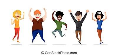 平ら, スタイル, グループ, 生徒, イラスト, バックグラウンド。, ベクトル, 白, 幸せ, 跳躍