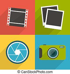 平ら, スタイル, セット, アイコン, 写真撮影, 長い間, 3, shadow.