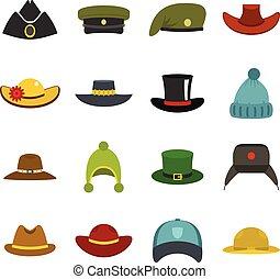 平ら, スタイル, セット, アイコン, 帽子, 頭飾り