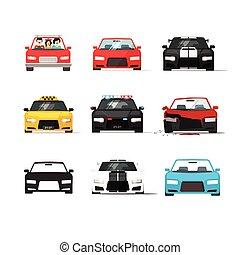 平ら, スタイル, セット, アイコン, 自動車, コレクション, 前部, ベクトル, 自動車, 光景