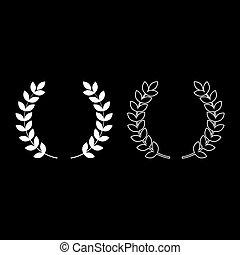 平ら, スタイル, セット, アウトライン, 色, シンボル, 勝者, イラスト, ベクトル, 花輪, 勝利, ブランチ, 月桂樹, 白, イメージ, アイコン