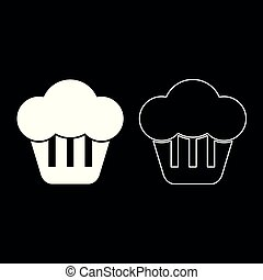 平ら, スタイル, セット, イメージを彩色しなさい, イラスト, cupcake, 単純である, 白, アイコン