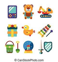 平ら, スタイル, セット, カラフルである, 子供, ベクトル, おもちゃ