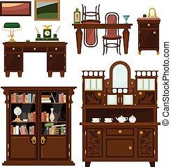 平ら, スタイル, セット, クラシック, ベクトル, 家具