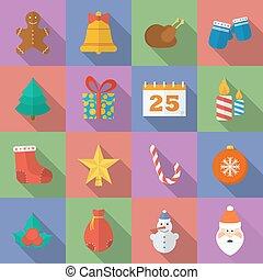 平ら, スタイル, セット, クリスマス, icons.