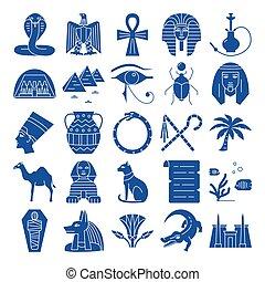 平ら, スタイル, セット, シルエット, アイコン, エジプト