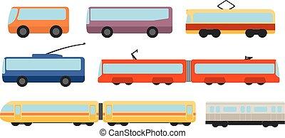 平ら, スタイル, セット, 公共の輸送