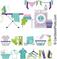 平ら, スタイル, セット, 洗濯物, 有色人種, アイコン, イラスト, ベクトル, 洗浄