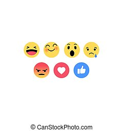 平ら, スタイル, セット, emoticons., アイコン, 抽象的, バックグラウンド。, 白, emoji