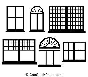 平ら, スタイル, セット, illustration., 窓, ベクトル, デザイン, アイコン