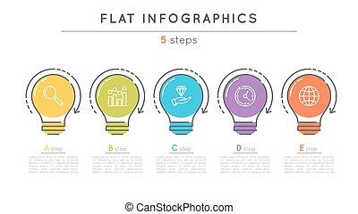 平ら, スタイル, タイムライン, infographic, 5, ステップ, template.