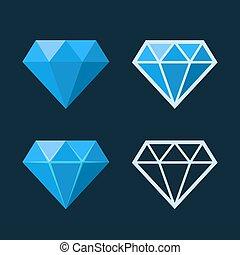 平ら, スタイル, ダイヤモンド, アイコン, set., ベクトル, logo.