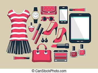 平ら, スタイル, ファッション, デザインを設定しなさい