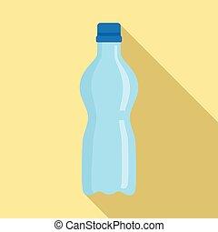 平ら, スタイル, プラスチック, 水のビン, アイコン