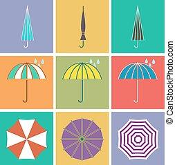 平ら, スタイル, ベクトル, 傘, アイコン