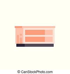 平ら, スタイル, ベクトル, 棚, 隔離された, イラスト, キャビネット, 枕元, オレンジ, テーブル, 家具, 空, アイコン