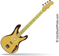 平ら, スタイル, ベース, イラスト, ギター, ベクトル