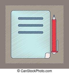 平ら, スタイル, ペン, ノート, 影で覆うこと, アイコン